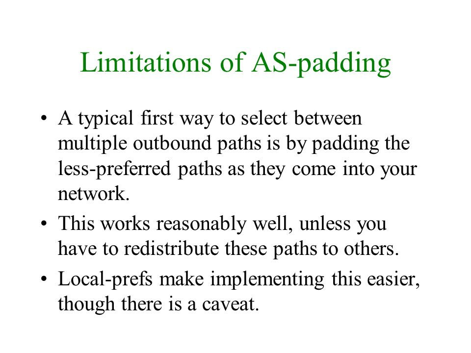 Limitations of AS-padding