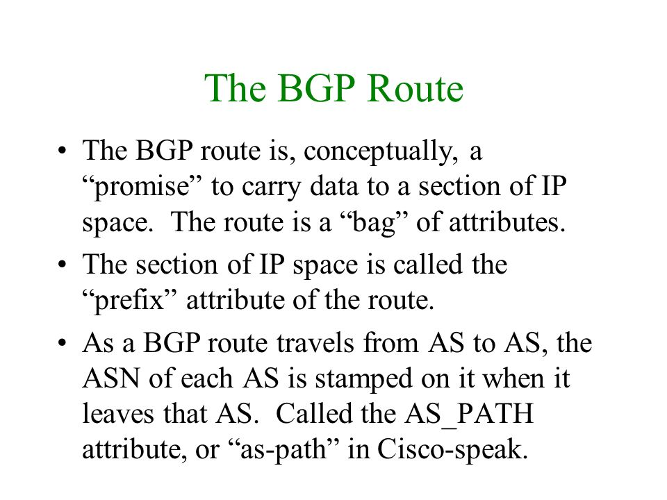 The BGP Route The BGP route is, conceptually, a promise to carry data to a section of IP space. The route is a bag of attributes.
