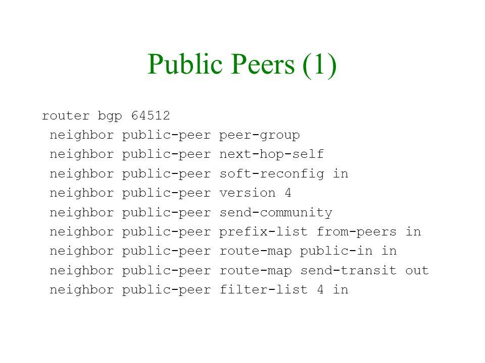 Public Peers (1) router bgp 64512 neighbor public-peer peer-group