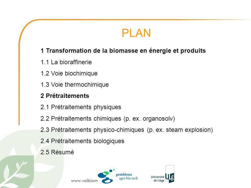 PLAN 1 Transformation de la biomasse en énergie et produits