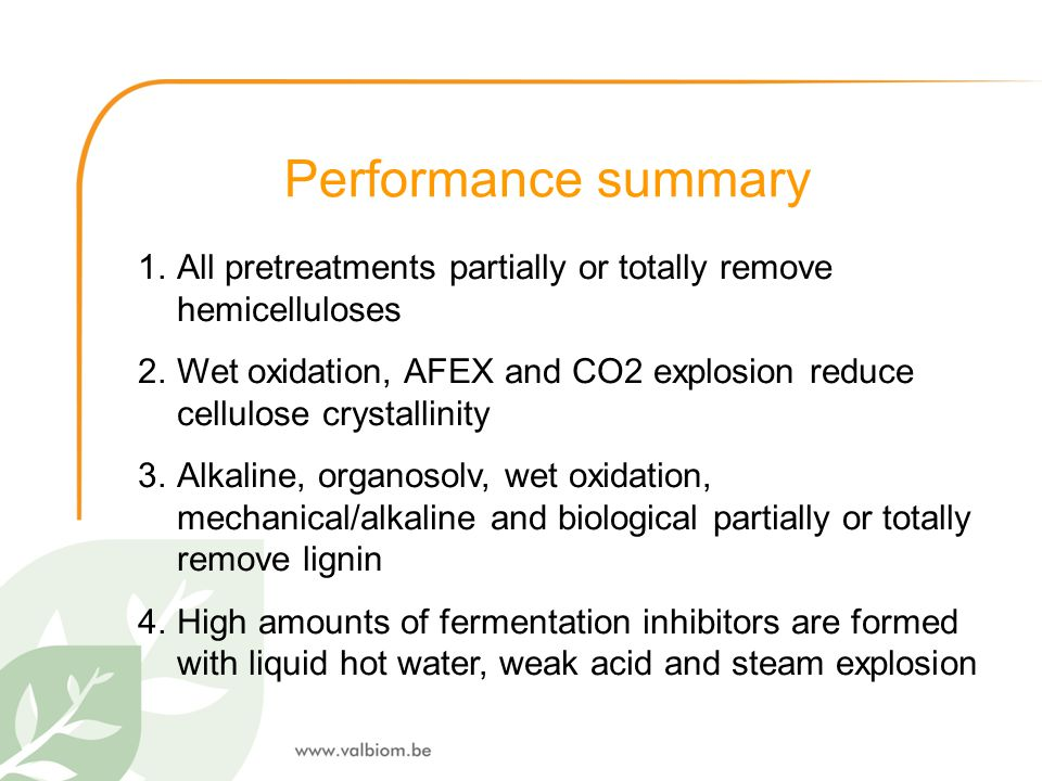 Performance summary All pretreatments partially or totally remove hemicelluloses.