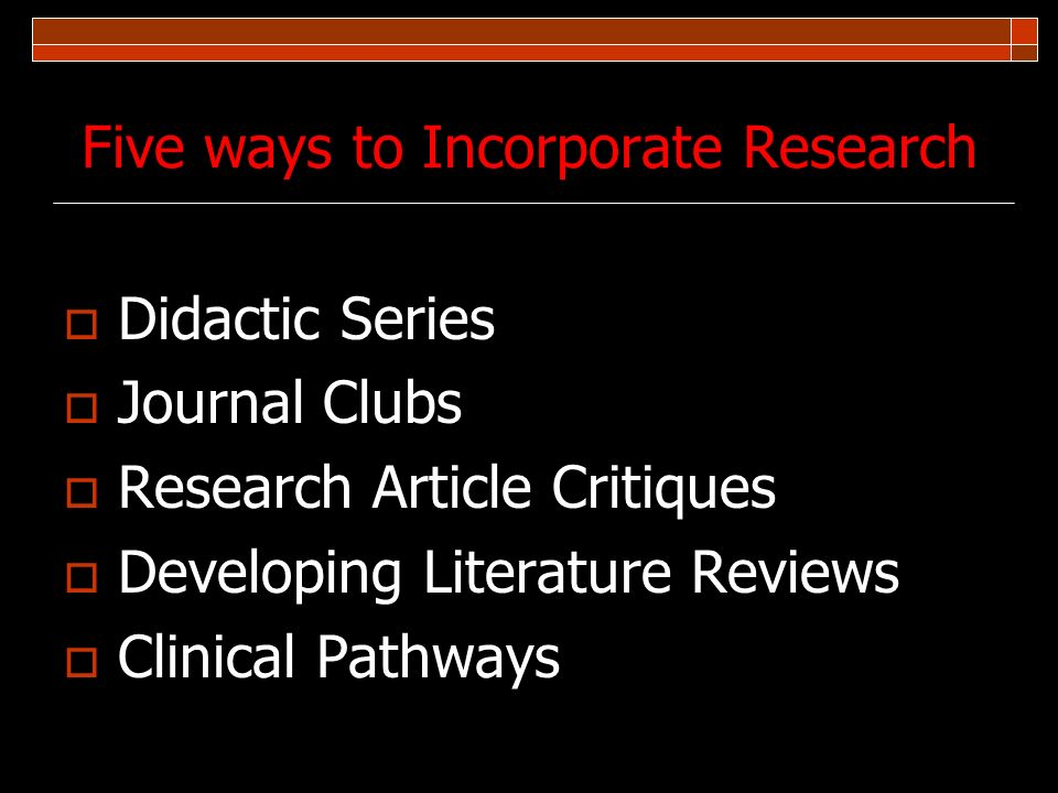 Five ways to Incorporate Research
