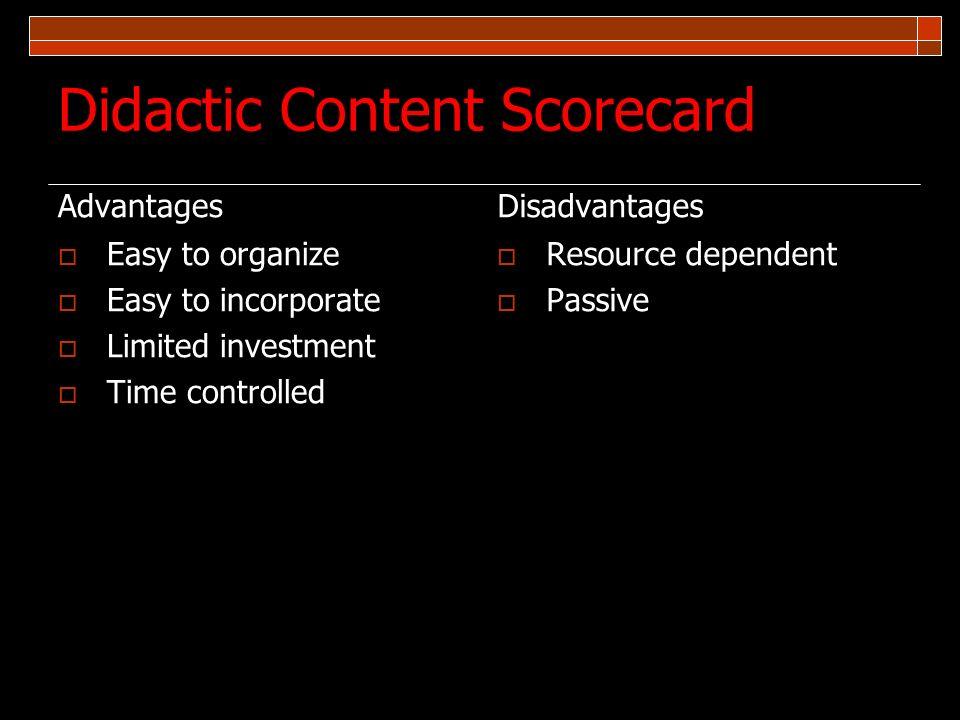 Didactic Content Scorecard