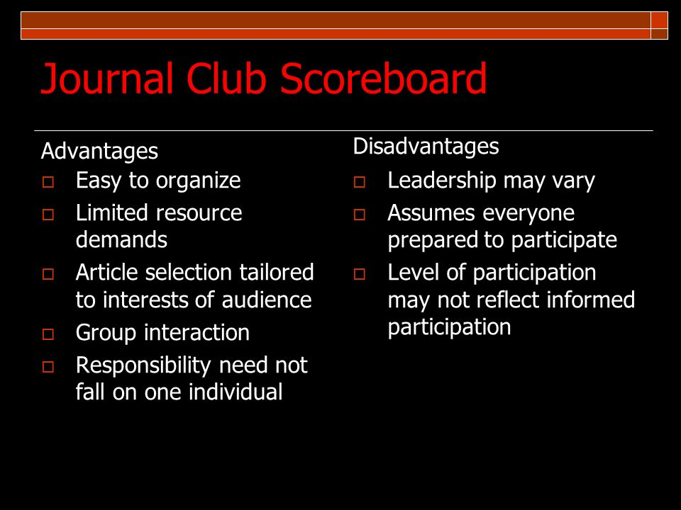 Journal Club Scoreboard