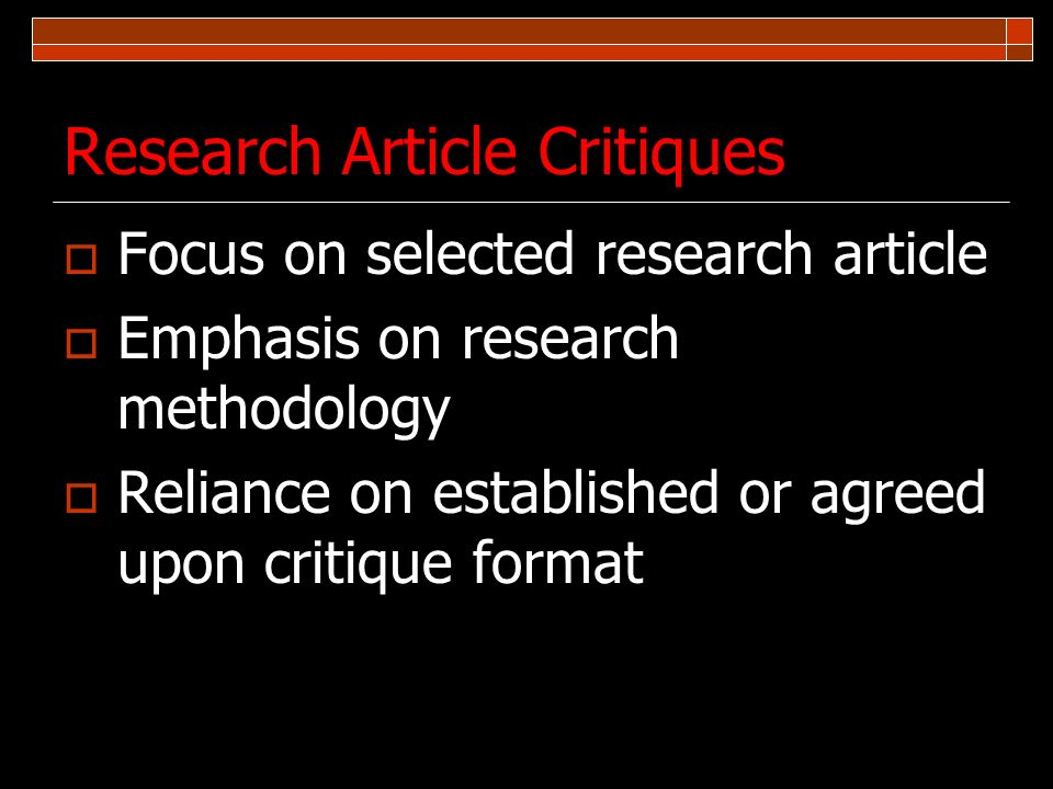 Research Article Critiques