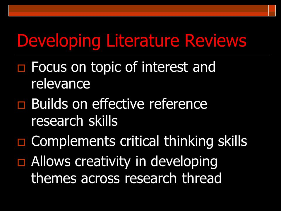 Developing Literature Reviews