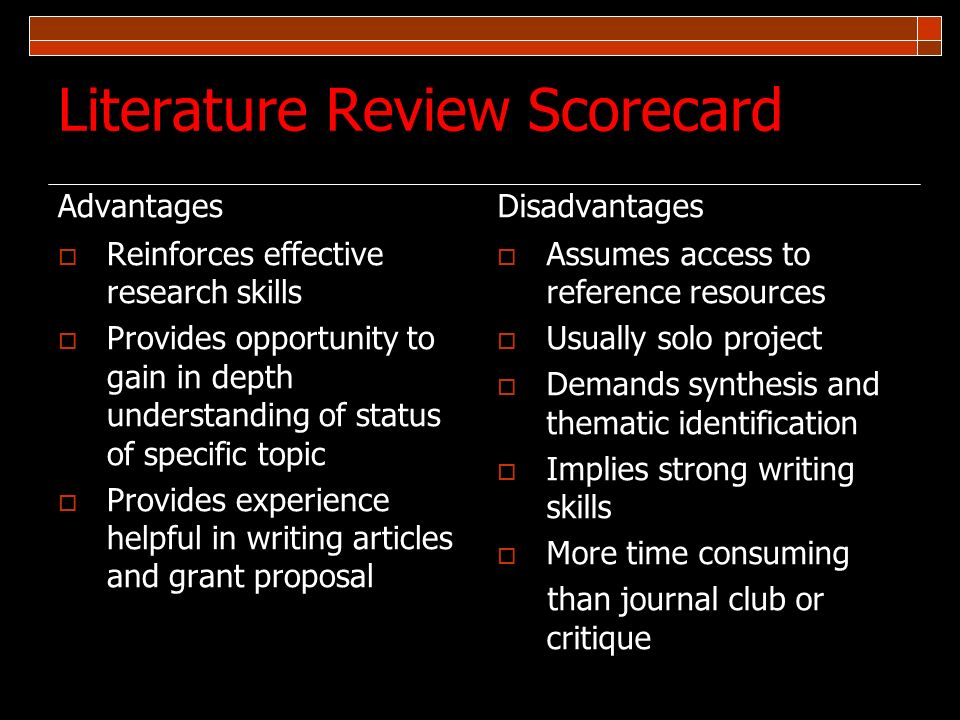 Literature Review Scorecard