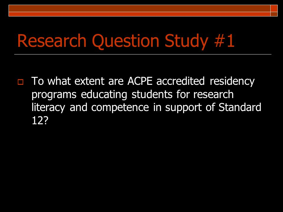Research Question Study #1