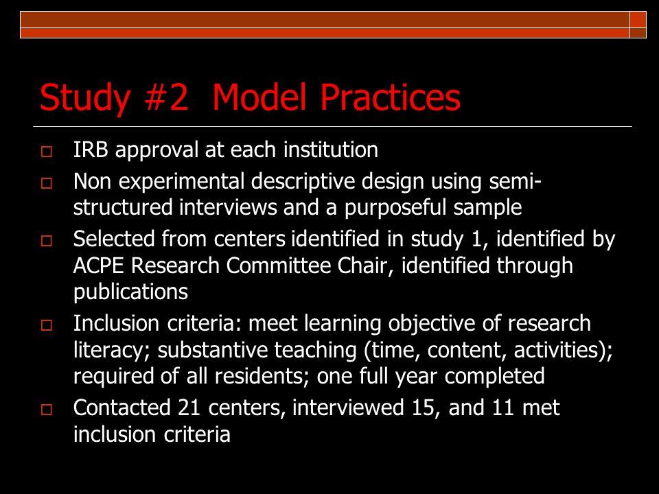 Study #2 Model Practices