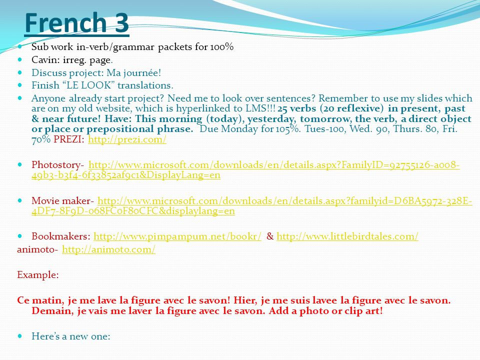 French 3 Sub work in-verb/grammar packets for 100% Cavin: irreg. page.