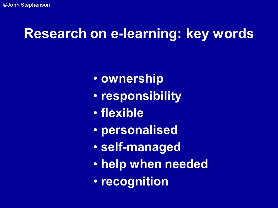 Research on e-learning: key words