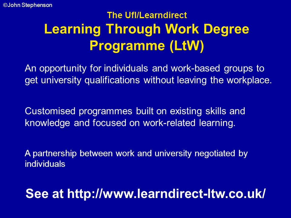 Learning Through Work Degree Programme (LtW)