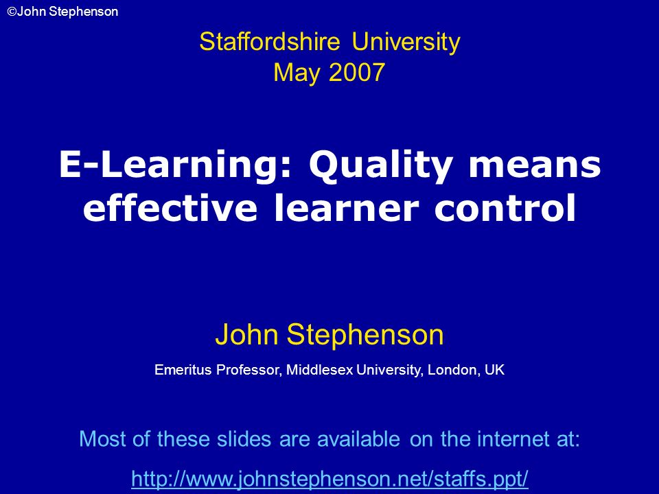 E-Learning: Quality means effective learner control