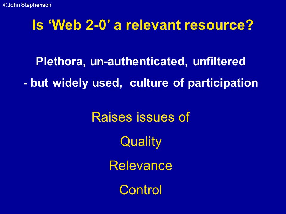 Is 'Web 2-0' a relevant resource