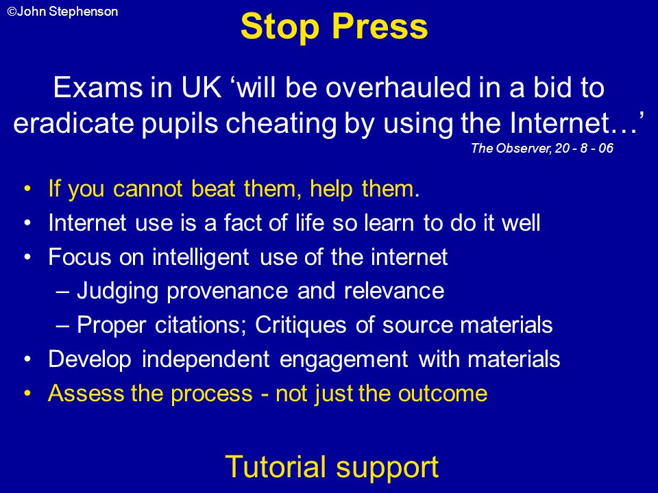 Stop Press Tutorial support
