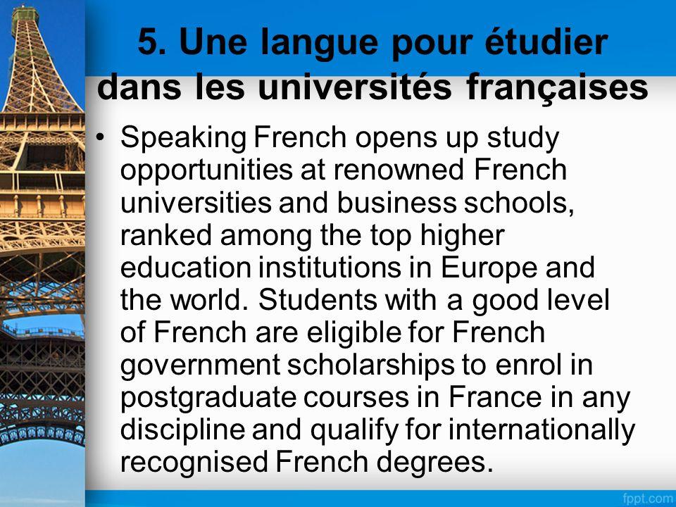 5. Une langue pour étudier dans les universités françaises