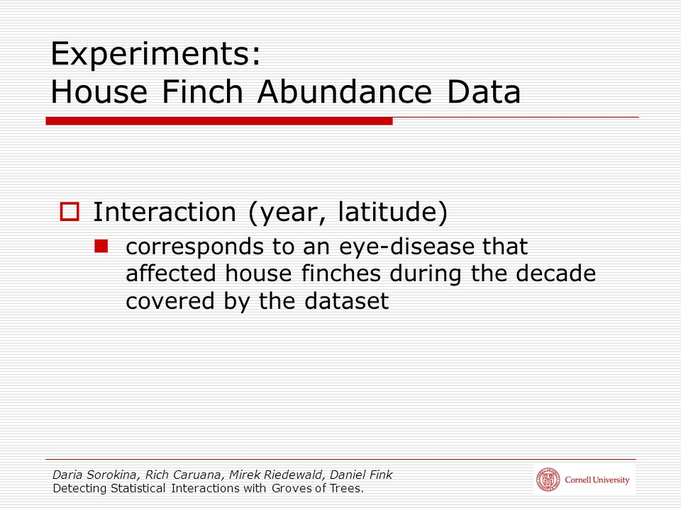 Experiments: House Finch Abundance Data