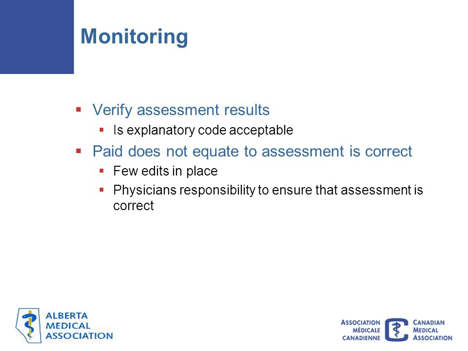 Monitoring Verify assessment results