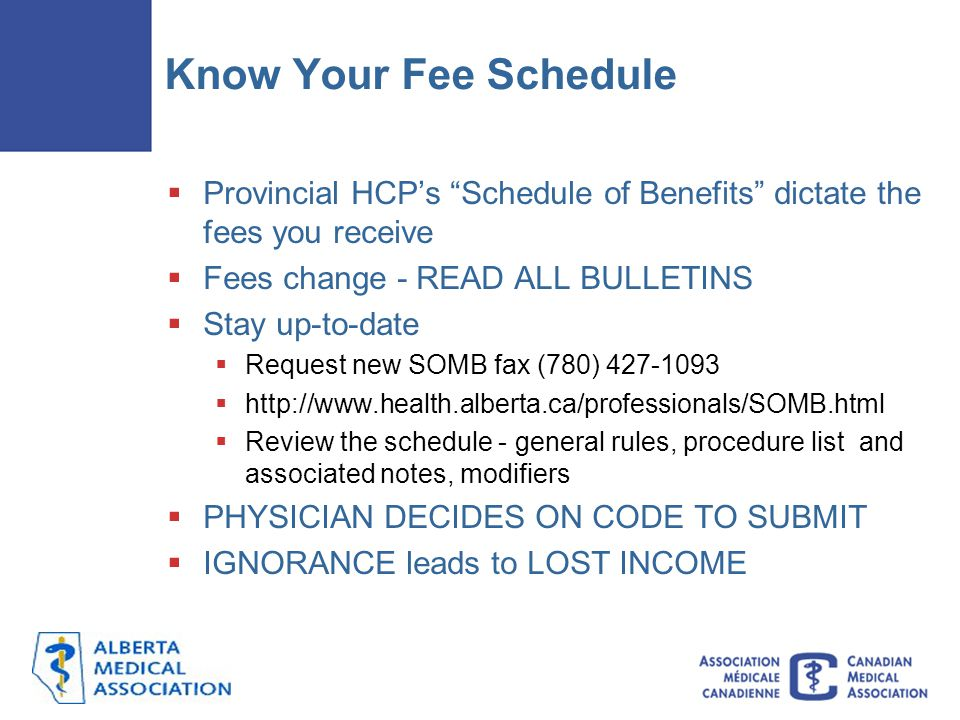Know Your Fee Schedule Provincial HCP's Schedule of Benefits dictate the fees you receive. Fees change - READ ALL BULLETINS.
