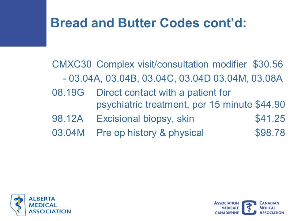 Bread and Butter Codes cont'd: