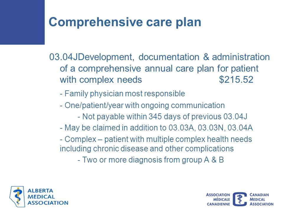 Comprehensive care plan
