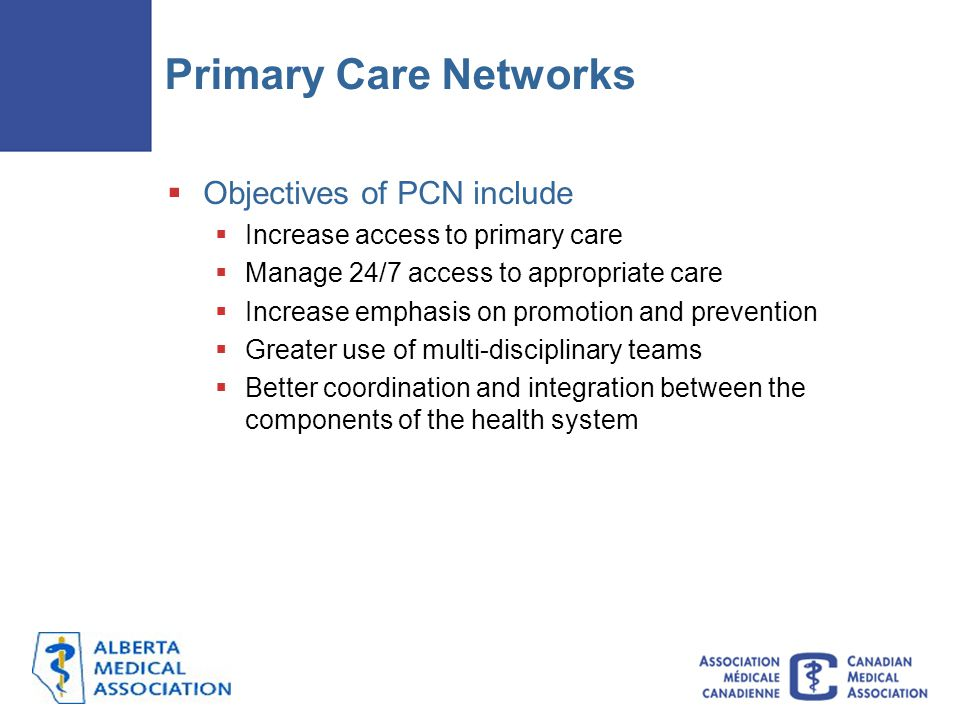 Primary Care Networks Objectives of PCN include