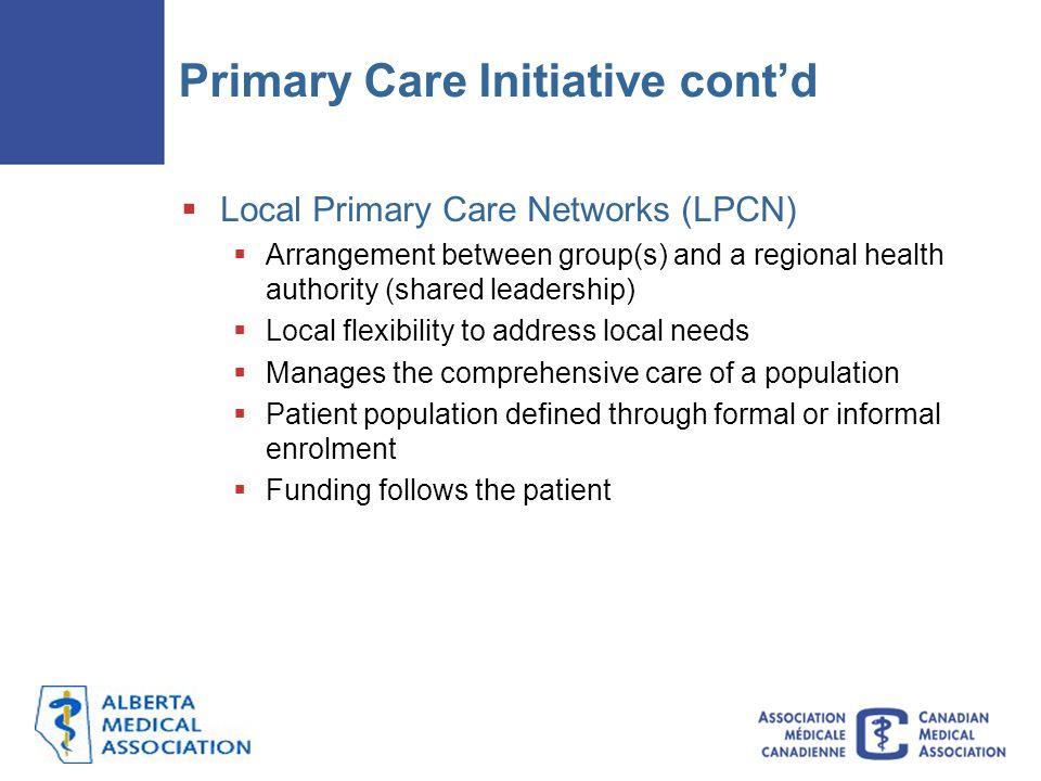 Primary Care Initiative cont'd