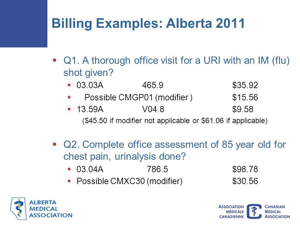 Billing Examples: Alberta 2011