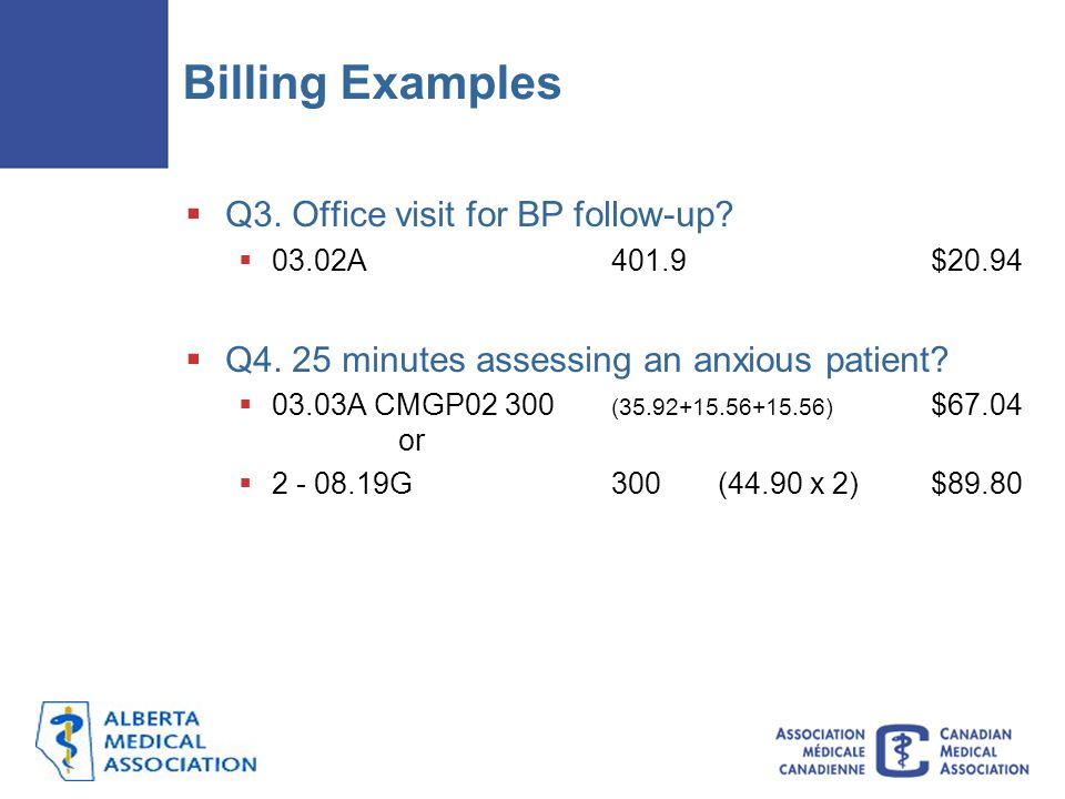 Billing Examples Q3. Office visit for BP follow-up