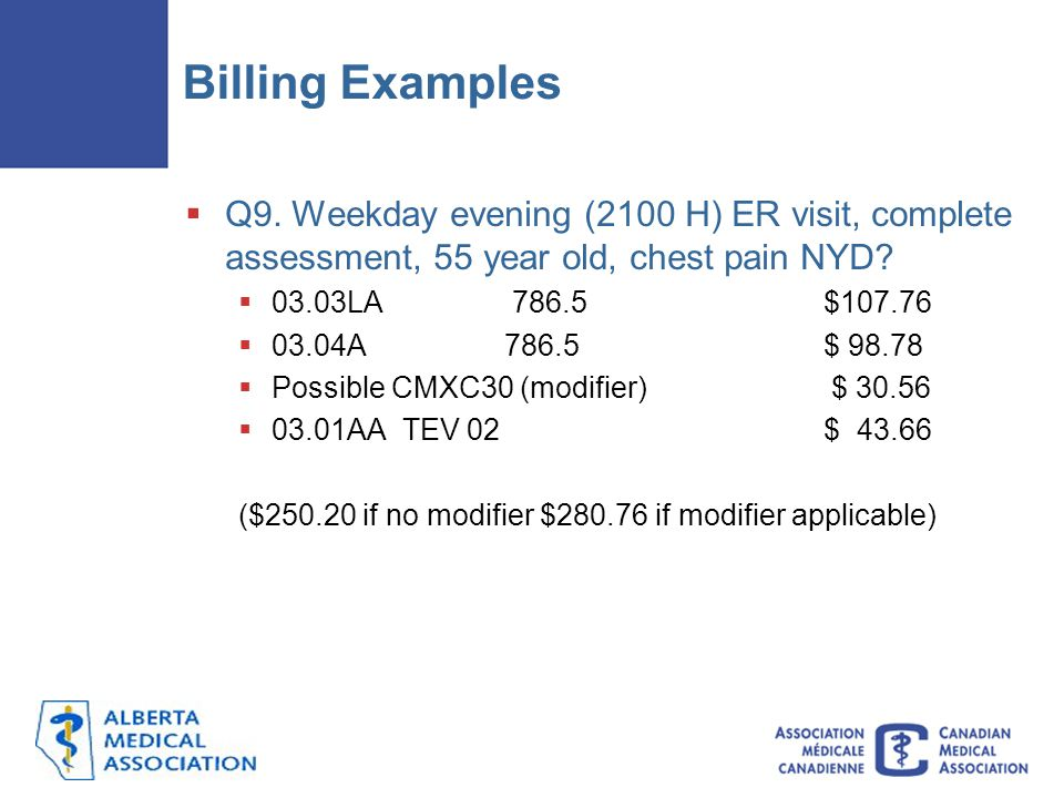Billing Examples Q9. Weekday evening (2100 H) ER visit, complete assessment, 55 year old, chest pain NYD