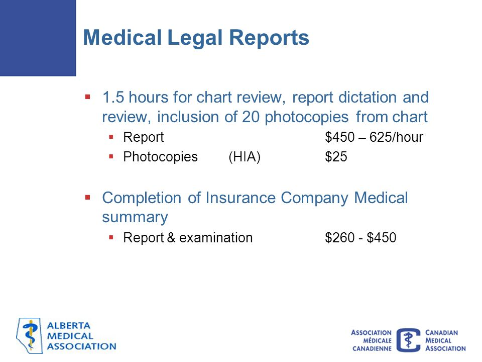 Medical Legal Reports 1.5 hours for chart review, report dictation and review, inclusion of 20 photocopies from chart.