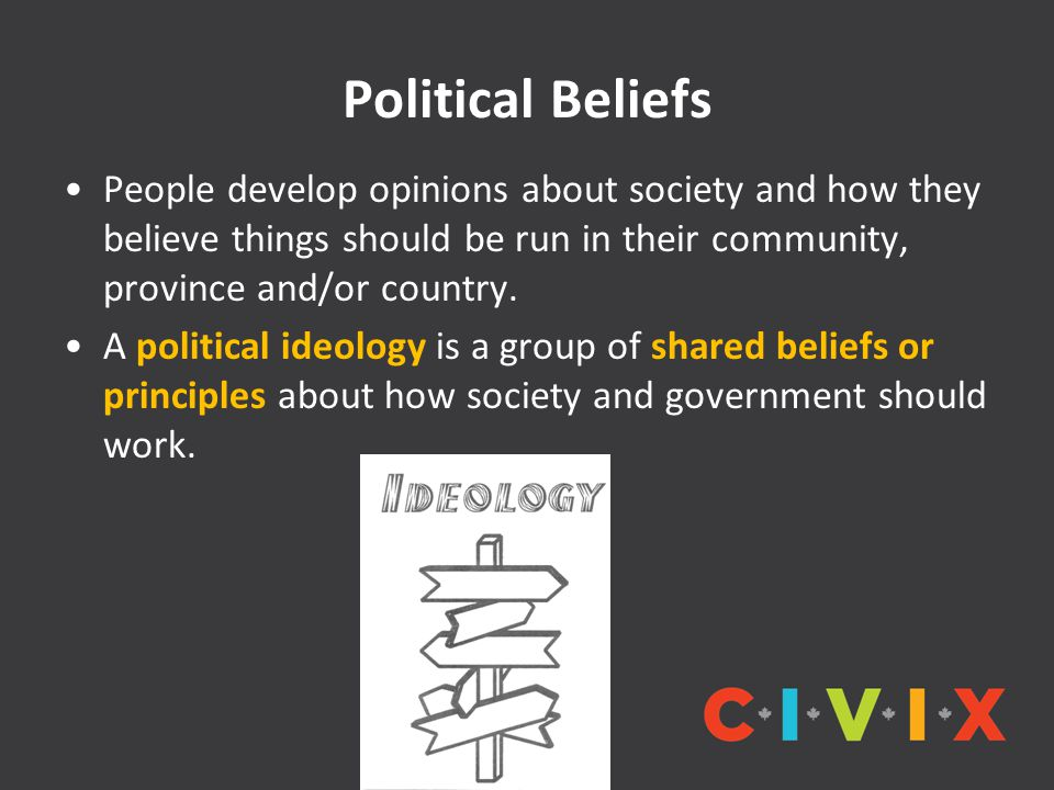 Political Beliefs People develop opinions about society and how they believe things should be run in their community, province and/or country.