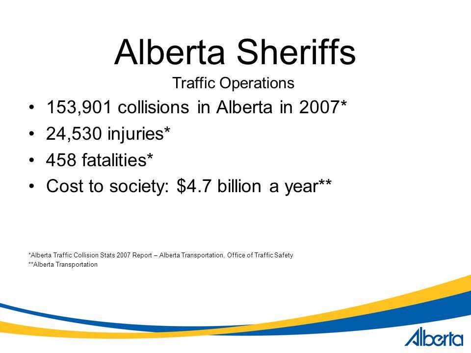 Alberta Sheriffs 153,901 collisions in Alberta in 2007*