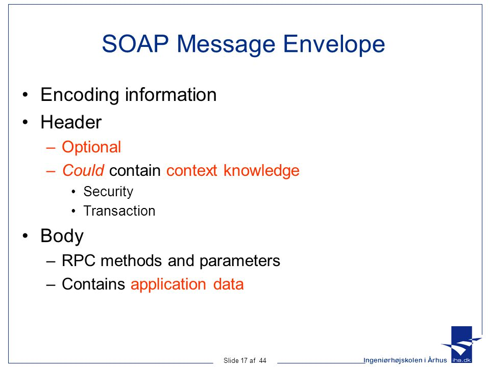 SOAP Message Envelope Encoding information Header Body Optional