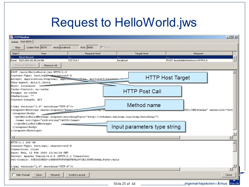 Request to HelloWorld.jws