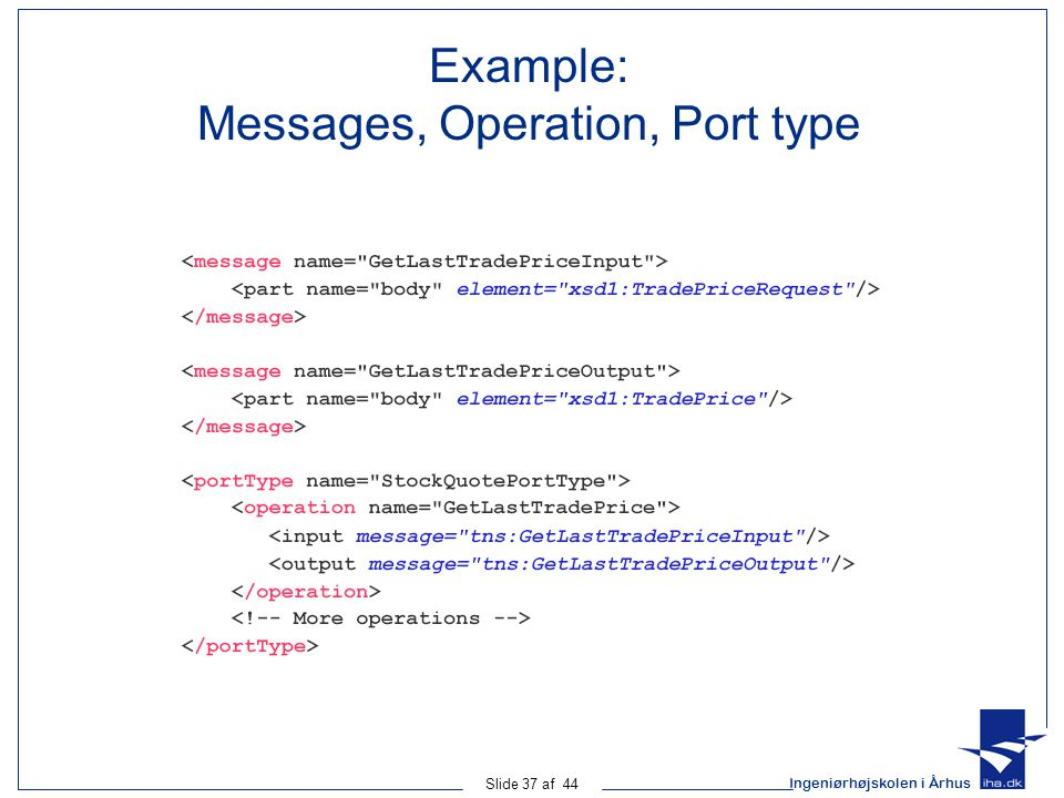 Example: Messages, Operation, Port type