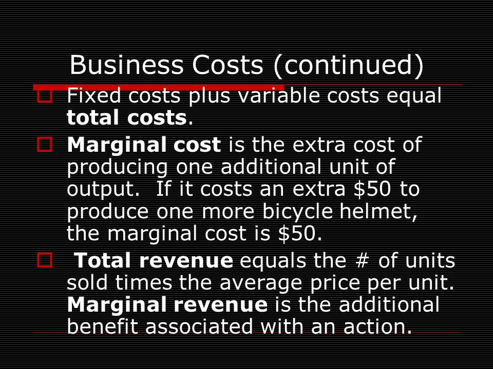 Business Costs (continued)