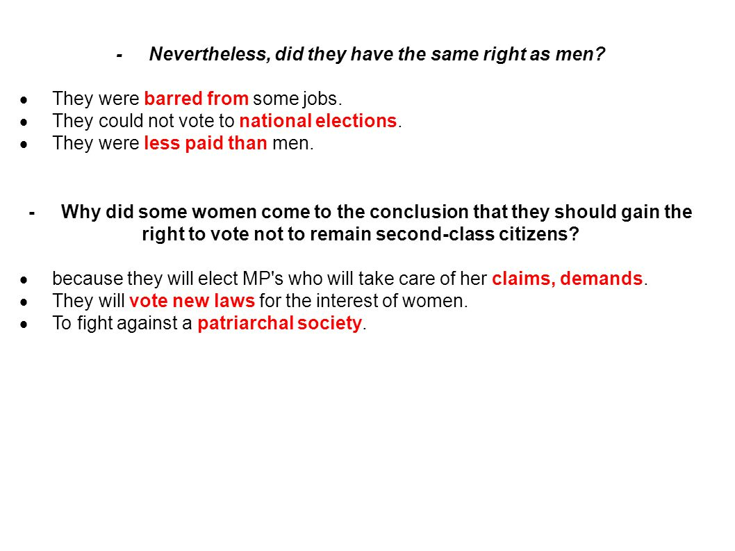 - Nevertheless, did they have the same right as men