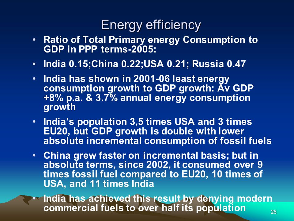 Energy efficiency Ratio of Total Primary energy Consumption to GDP in PPP terms-2005: India 0.15;China 0.22;USA 0.21; Russia 0.47.