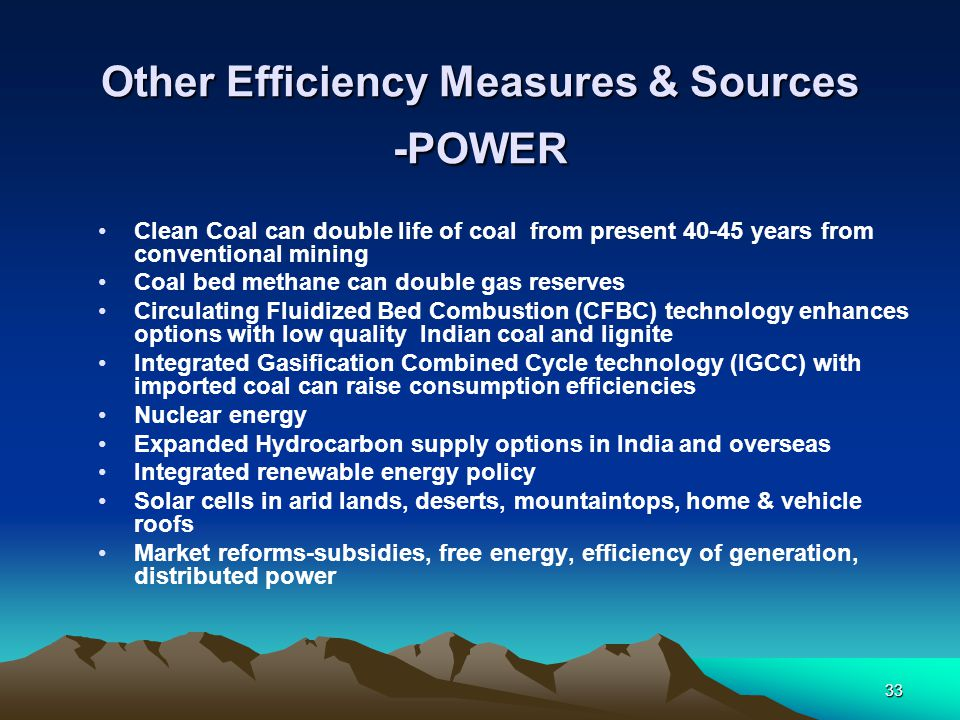 Other Efficiency Measures & Sources -POWER