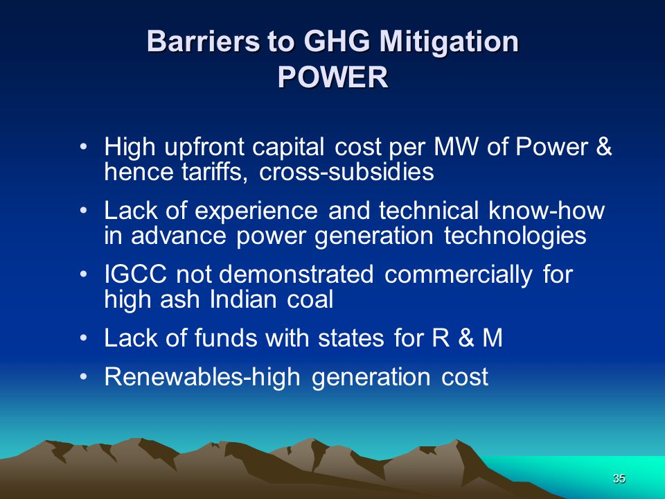 Barriers to GHG Mitigation POWER