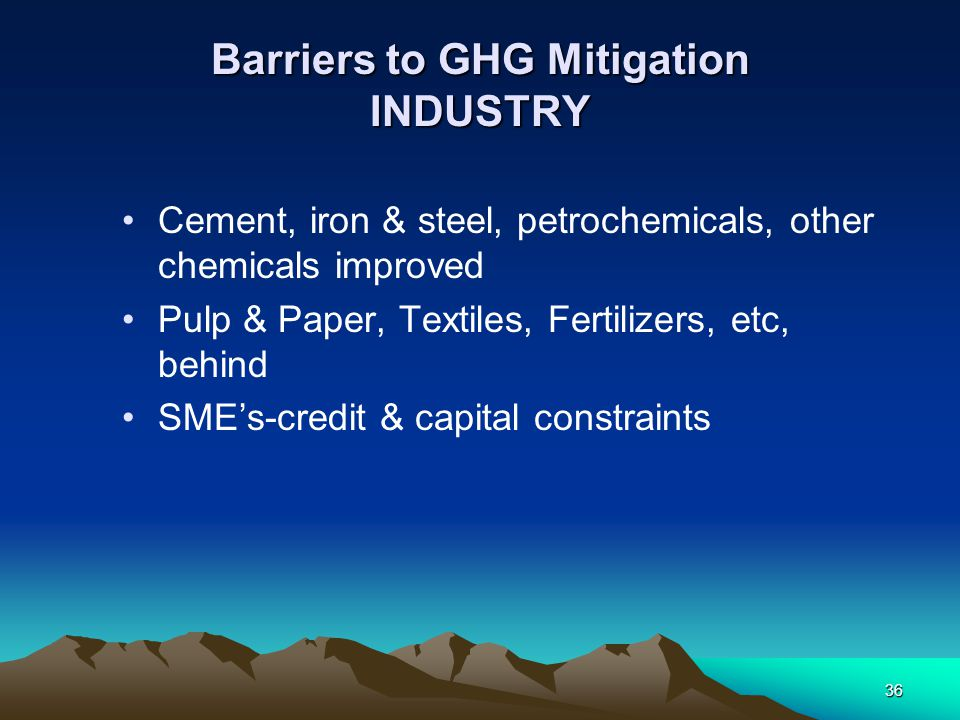 Barriers to GHG Mitigation INDUSTRY