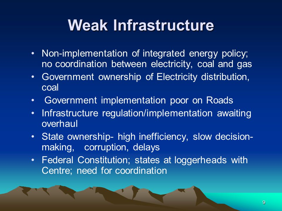 Weak Infrastructure Non-implementation of integrated energy policy; no coordination between electricity, coal and gas.