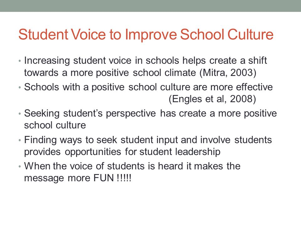 Student Voice to Improve School Culture