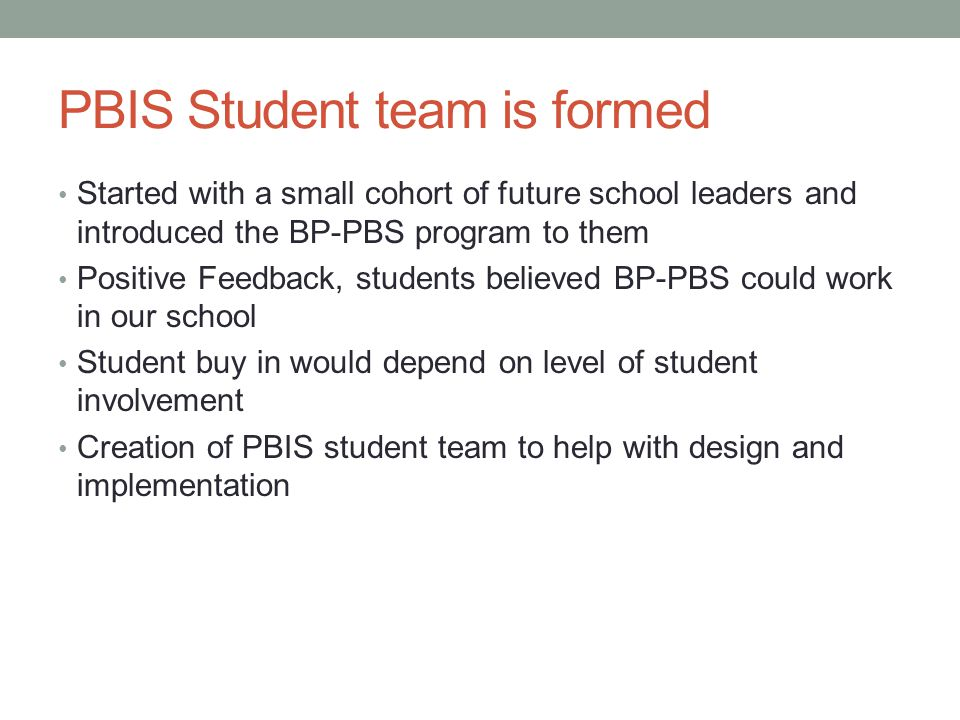PBIS Student team is formed