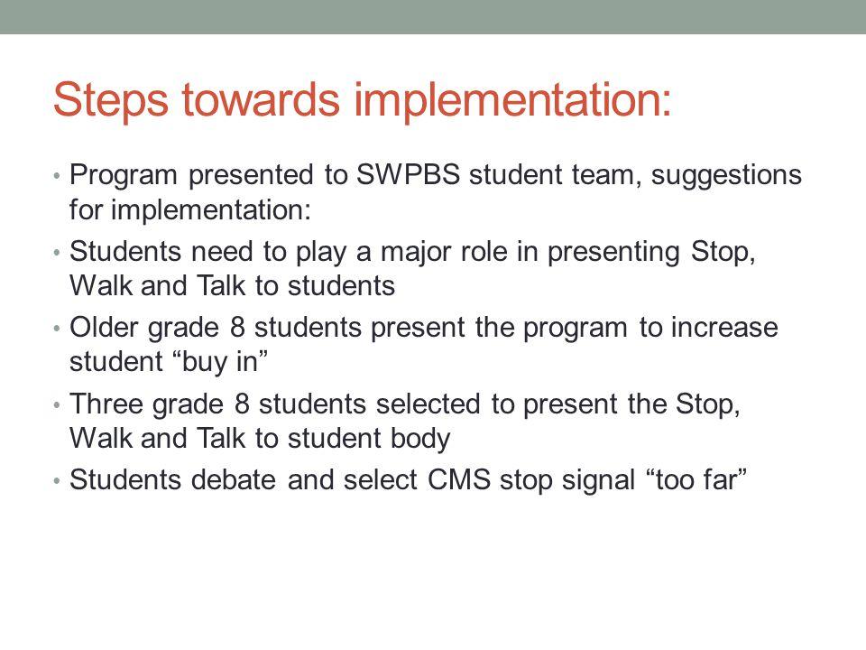 Steps towards implementation: