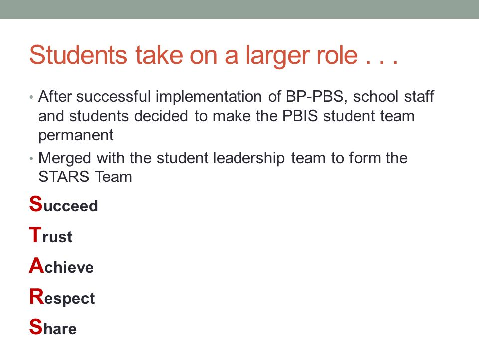 Students take on a larger role . . .
