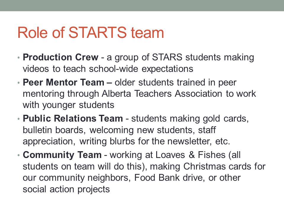 Role of STARTS team Production Crew - a group of STARS students making videos to teach school-wide expectations.