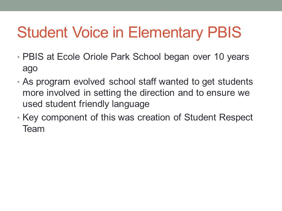 Student Voice in Elementary PBIS