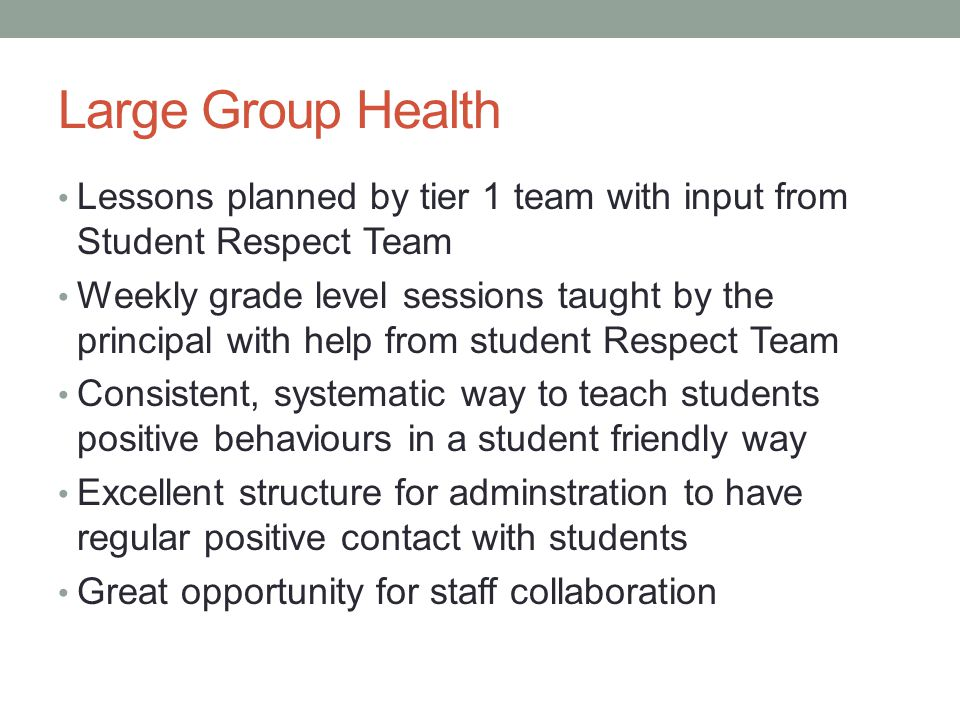 Large Group Health Lessons planned by tier 1 team with input from Student Respect Team.